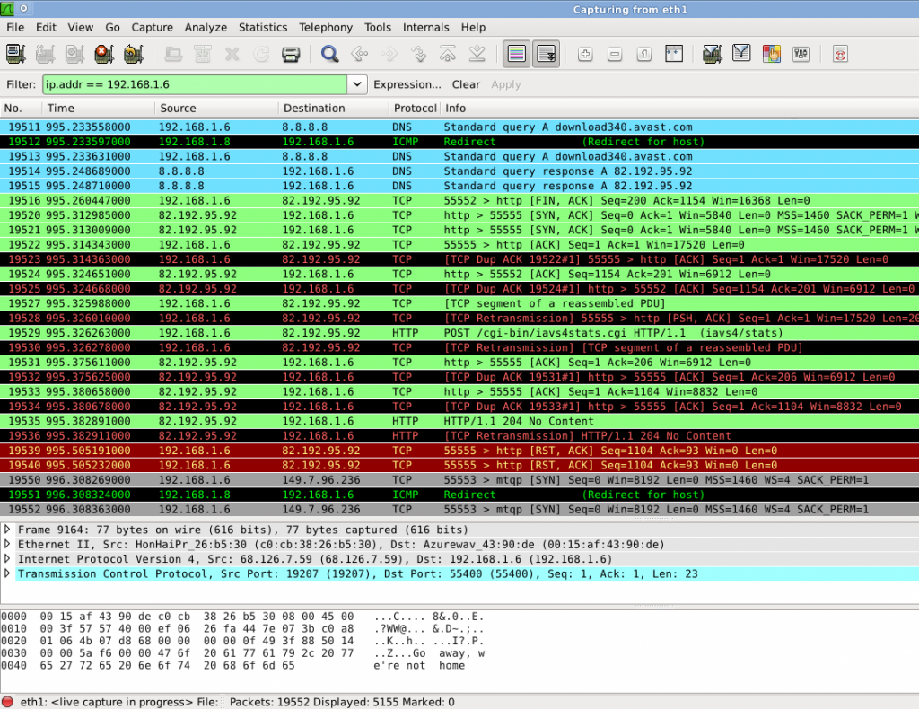 Screenshot Wireshark